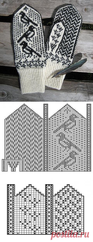 Очень красивый орнамент для варежек (Вязание спицами)
