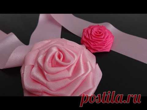 Rose from an integral tape. Master-klass.\/Ribbon Rose\/