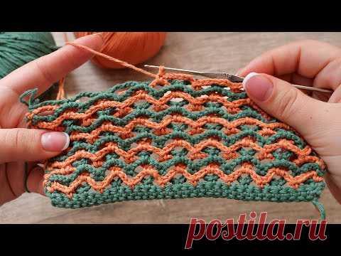 Двухцветный узор из цепочек крючком 🦒 Two-tone crochet chain pattern