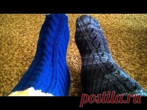 Самые простые тапочки-носочки(вяжем 2 одновременно)