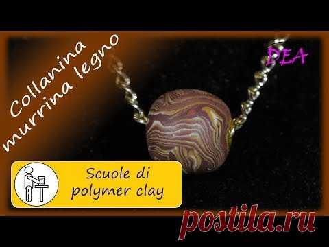 Collana con perla rivettata di murrina legno e murrina turchese.