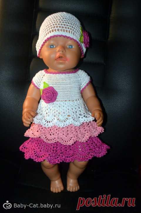 вяжем наряд для куклы Beby Born вязание спицами для кукол беби бон с