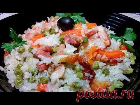 Вкусный рис с беконом и горошком в мультиварке