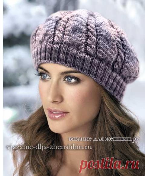 модные береты спицами 2018 2019 схемы вязания шапки спицами