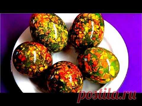 Como pintar los huevos a la Pascua. Los huevos de mármol. El modo simple. - YouTube