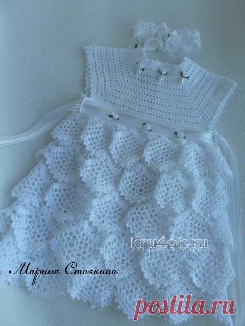 Платье для девочки крючком, белое ажурное
