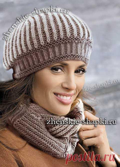 модная женская шапка и шарф зима 2016 2017 вязание шапки береты