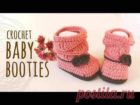 Tutorial Peach Baby Booties Crochet