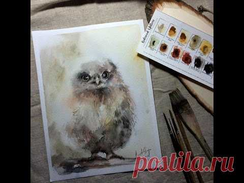 How to paint a  watercolor owl. Watercolour demonstration by CanotStop Painting