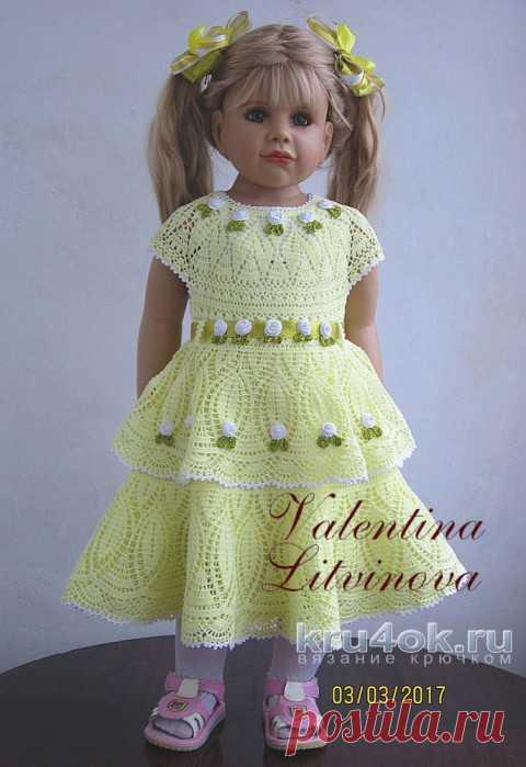 Платье для девочки крючком. Работа Валентины Литвиновой