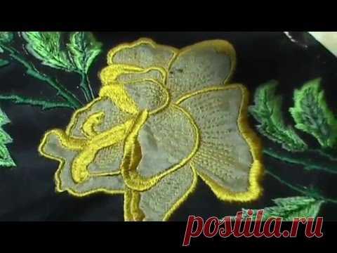 Машинная вышивка мастер класс Роза Обзор готовой работы