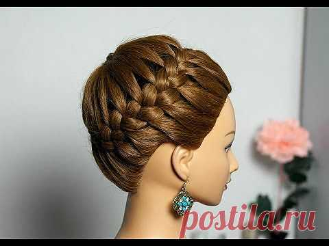 """▶ the Hairdress on long and average hair """"Корзинка"""". Weaving of a braid around the head. - YouTube"""