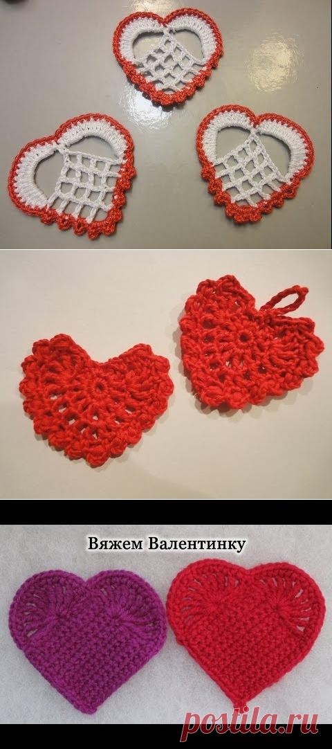смотреть онлайн бесплатно сердце аппликация вязание крючком Heart