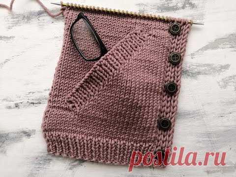Вязание спицами прорезного бокового кармана