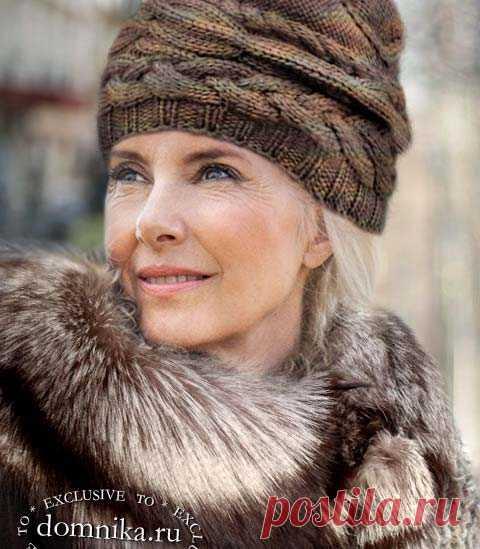 Вязаные шапки для дам пожилого возраста - 4 модели на зиму 2021 года