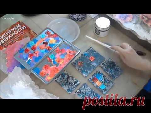 Микс медиа мозаика из структурной пасты видео урок Натальи Жуковой
