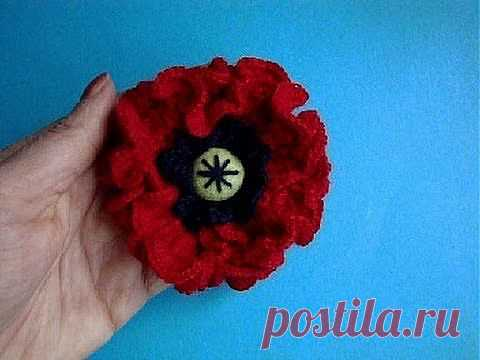 ▶ Как вязать мак Урок 23 Вязание крючком Crochet poppy flower - YouTube