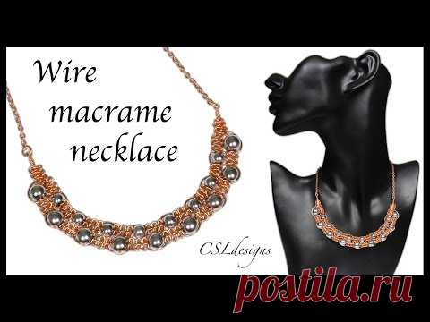 Double row wire macrame necklace