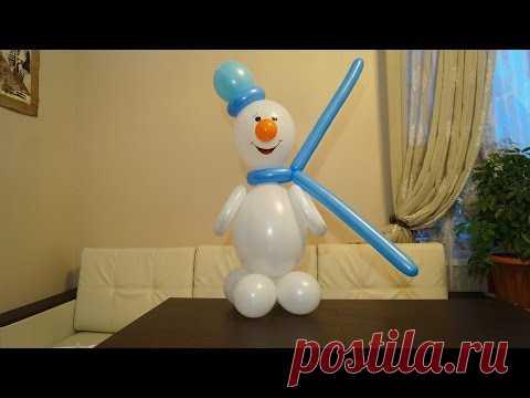 Снеговик из воздушных шаров. Snowman made of balloons.