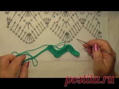 ¡Enseñaré a tejer por el gancho! La lección 14. Tejemos por el esquema la cinta el zigzag