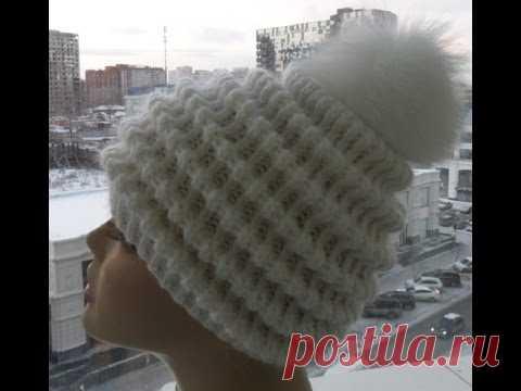 "Женская шапка спицами "" Волны""-Women's cap spokes ""Waves"" - YouTube"