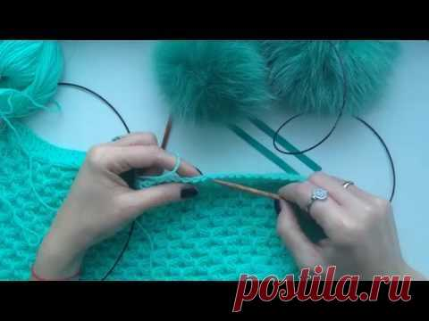 How to knit. Knitting by spokes. Loops from edging. Cast on additional stitches #20
