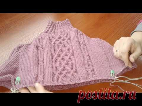 El método de la labor de punto continua por los rayos. El jersey con aranami. La parte 3. Кnit sweater.