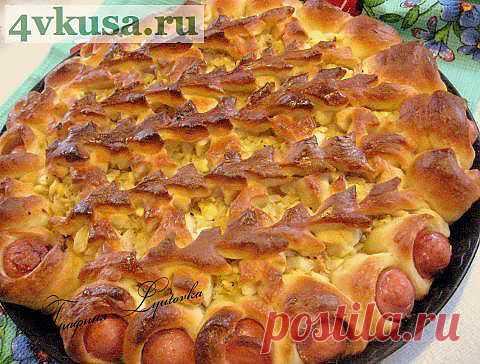 Открытый пирог с капустой и сосисками | 4vkusa.ru