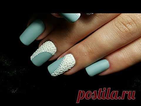 Nail art. Дизайн ногтей. Матовые ноготки с фактурными цветами