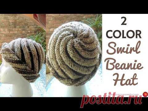 Two Color Swirl Hat  - Knitted Swirl Hat - Spiral Beanie 2 Colors