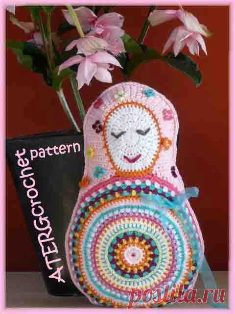 Crochet pattern Matryoshka cushion by ATERGcrochet
