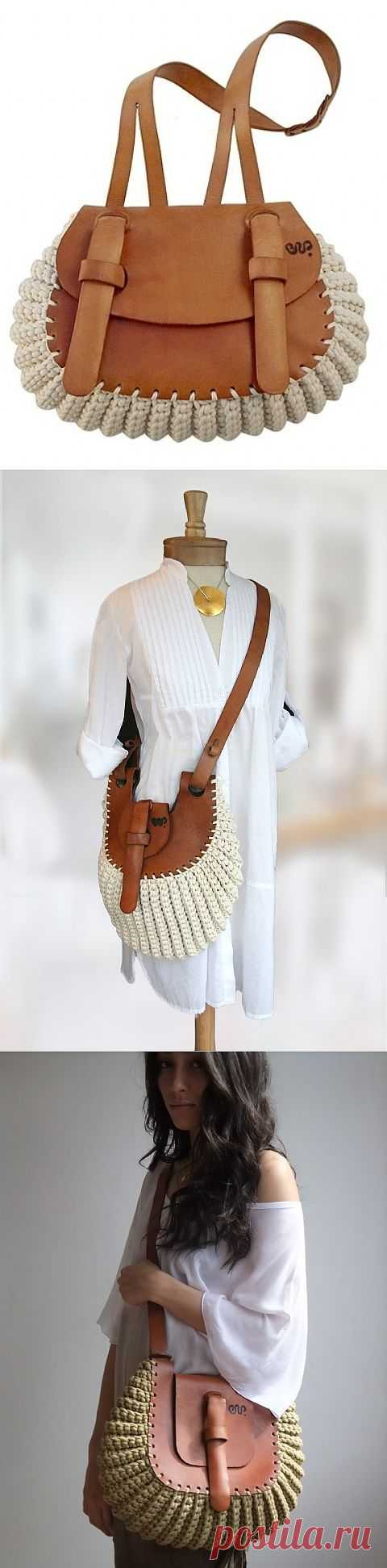 Кожа + хлопковый шнур (подборка) / Сумки, клатчи, чемоданы / Модный сайт о стильной переделке одежды и интерьера