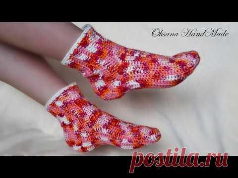 носки крючком простой способ вязания Crochet Socks вязание