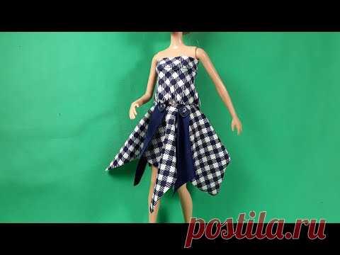 Урок кроя и шитья квадратной юбки и топа для Барби. Мастер-класс.