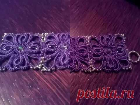 Bracelet Flamme Violet (Tatting, Frivolité, Orecchini, Фриволите)
