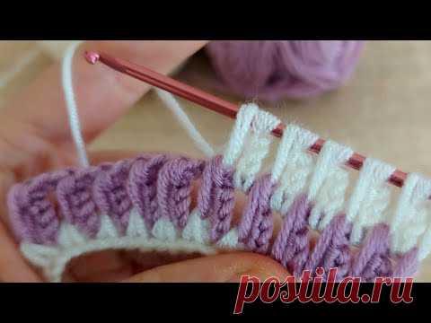 Супер легкое тунисское вязание - Очень красивый тунисский узор спицами