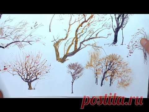 Рисование зимних деревьев