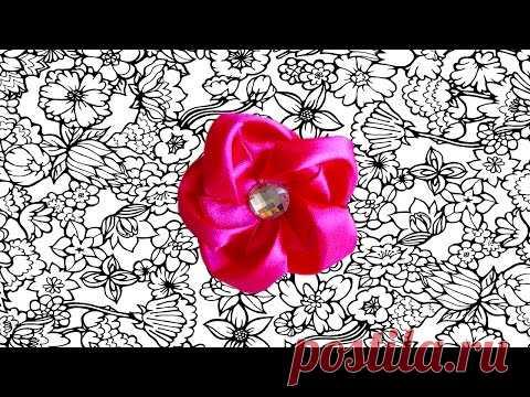 Diy Резиночка канзаши с цветком из ленты.  МК  Легко и просто. Ribbon flowers