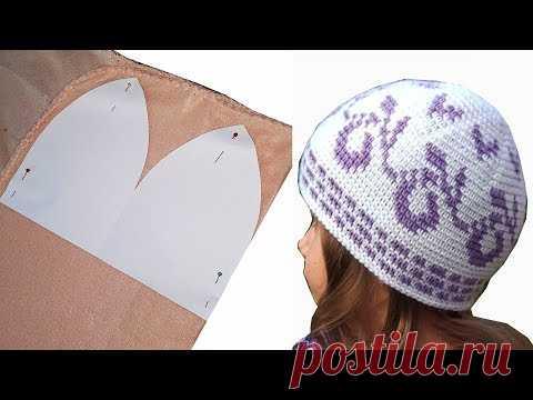 подклад для вязаной шапки шьем из флиса шитье на мамочкином канале