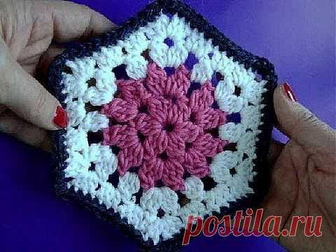 Knitting by a hook the Lesson 245 Six-sided motive of Crochet hexagon motif - YouTube