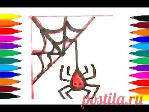 Как поэтапно нарисовать ПАУКА НА ПАУТИНЕ / рисунки на Хэллоуин для детей)