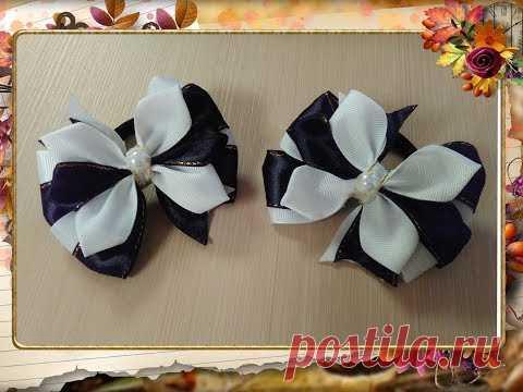 Бантики в школу из лент 2,5 см. МК Канзаши / Ribbon school ribbon 2.5 cm. MK Kanzashi