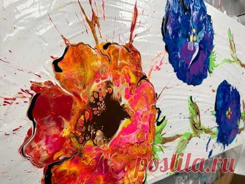 Acrylic Paint Pouring: Create Flowers With a Blown Puddle Pour
