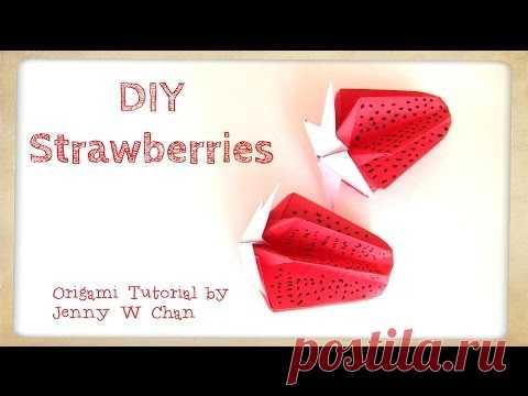 DIY Origami Strawberry - Paper Crafts Kids - Strawberries - Home Decoration - Summer Crafts Kids