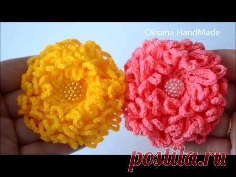 La flor por el gancho. El crisantemo. Flower crochet. Chrysanthemum