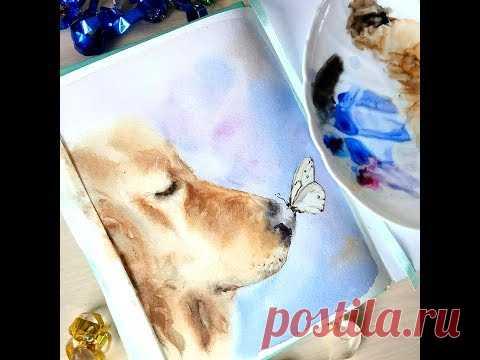 Мастер-класс #46 Пёс и бабочка Картина акварелью. Watercolor workshop