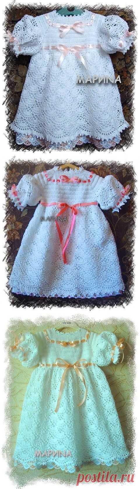 Мастер класс по вязанию нарядного платья для девочки.