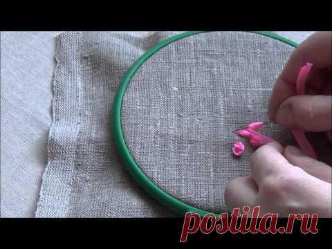 Колониальный узелок и розочка - вышивка лентами для начинающих пошагововышивка лентами для начинающих пошагово