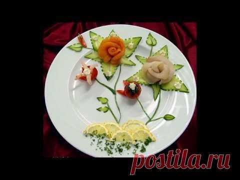 Цветок из ломтиков огурца. Мастер-класс по украшению блюд.