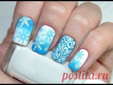 DIY Christmas Nails   Snowflakes Nail Art Tutorial   Manicure for New Year